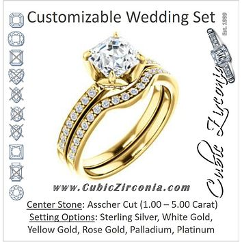 CZ Wedding Set, featuring The Sandy engagement ring (Customizable Prong-Accented Asscher Cut Style with Thin Pavé Band)