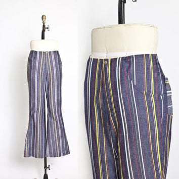 Vintage 1970s Bell Bottoms - Striped Blue High Waist Flared Pants 1960s - Medium