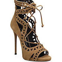 Giuseppe Zanotti - Laser-Cut Suede Lace-Up Sandals - Saks Fifth Avenue Mobile