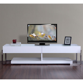Agent 71 Inch Contemporary TV Stand White Lacquer White Glass Top