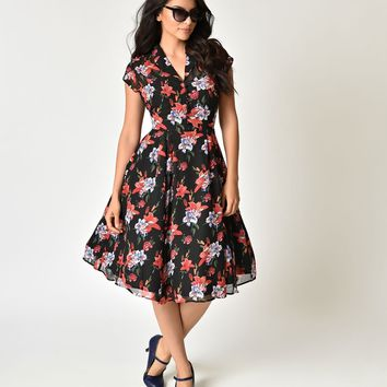 Hell Bunny 1950s Black & Floral Print Chiffon Rayna Swing Dress