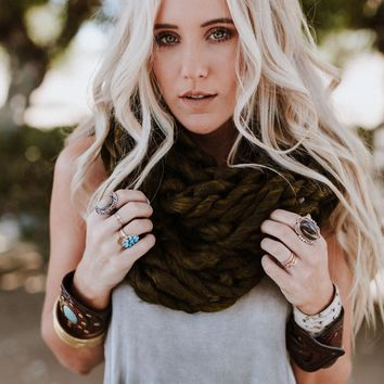 East Coast Knitted Infinity Scarf - Olive