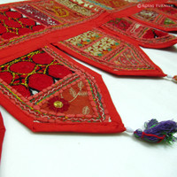 Vibrant Red Indian Vintage Patchwork Window Valance Toran on RoyalFurnish.com
