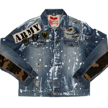 Custom Denim Jacket - Distressed Paint Splatter Denim by ANRKY Brand  - Camo Sleeve Edition