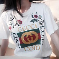 GUCCI Trending Women Loose Embroidery Roses Letter Print T-Shirt Top Tee I