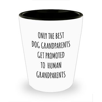 New Grandpa First Time Grandma Gift Baby Announcement Pregnancy Reveal Only the Best Dog Grandparents Get Promoted to Human Grandparents Ceramic Shot Glass