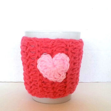 Coffee mug cozy, cup warmer, mug cover, cup cozy, travel mug warmer, pink heart cozy, gifts for him, gifts for her, mug cover