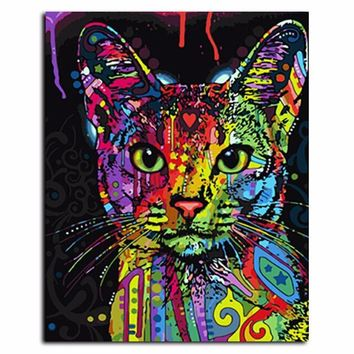Trippy Cat Oil Canvas Painting For Living Room & Home Decor