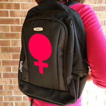 Backpack Feminist Black Female Sign Woman Symbol Feminism Zipper Pouches College University High School Student Red Gender Neutral Gear 110