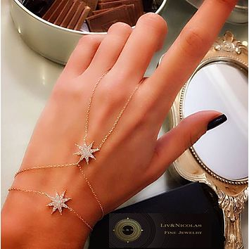 Gold Black - White Zirconia Star Slave Bracelet Hand Chain over Genuine 925 Sterling Silver