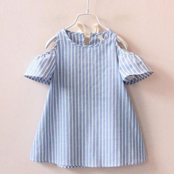 Summer Cotton Striped Dress For Girls