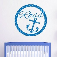 Wall Decals Custom Personalized Name Decal Anchor Cable Vinyl Sticker Boy Bedroom Nursery Baby Room Home Decor Ms433
