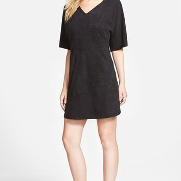 Women's Vince Camuto Faux Suede V-Neck Shift Dress,