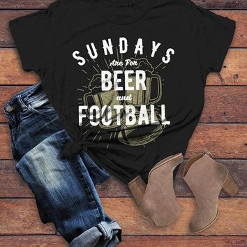 Women's Football T Shirt Sundays Are For Tshirt Football Beer Shirts Vintage Graphic Tee