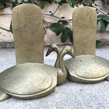 Vintage Brass Bookends Vintage Swan Brass Bookends Brass Bookends Swan Bookends Chinese Brass Bookends Brass Swan Bookend Set