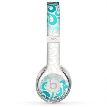 The Teal Blue & White Swirl Pattern Skin for the Beats by Dre Solo 2 Headphones