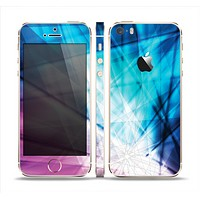 The Vibrant Blue and Pink HD Shards Skin Set for the Apple iPhone 5s