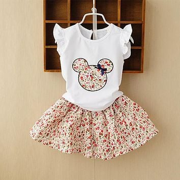 Retail 2017 Summer New Kids Girls Clothing Set Mickey Bear Tops + Floral Dress Girls Suits Set Summer Children Girl Clothes