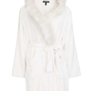 Fur Trim Dressing Gown - New In This Week - New In