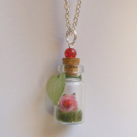 Rose and Ladybug Miniature Food Necklace Pendant  by NeatEats