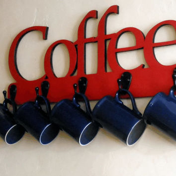Coffee Sign for Kitchen with Hooks // Red Coffee Sign