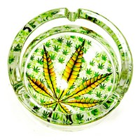 1 x Marijuana Leaf Glass Ashtray Smoke Weed Cannabis Pot 420 Design Cigarette !!