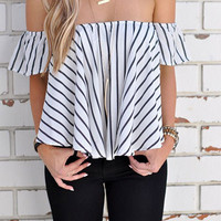 Streetstyle  Casual Street Style Sexy Striped Off Shoulder Bateau Top