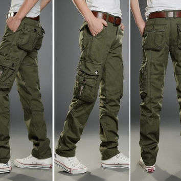 Men's Casual Camouflage Slim More pocket Long Sport Pants Slacks. = 1705112836