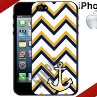 iPhone 4 Case iPhone 5 Case iPhone Case Gold and Navy Chevron Anchor