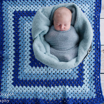 "Granny Square Baby Blanket, Baby Wrap 32"" x 32"" - Royal Blue, Blue, Soft Blue - Baby Boy Heirloom Crochet Baby Blanket, Photography Prop"