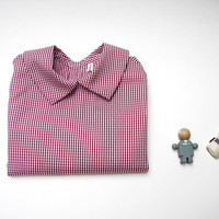 Peter pan collar blouse baby boy in pure cotton checked red and white/ long sleeves / for spring/ 2 years