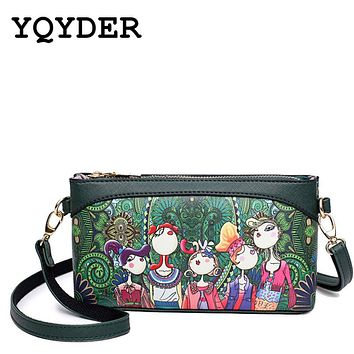 YQYDER Brand Shoulder Bags Small Crossbody Bags Women High Quality PU Leather Handbags Ladies Designer Cartoon Printing Purse