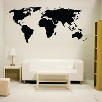 Black newclew world map wall decal Vinyl Art Sticker Home Décor Large