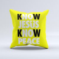 Know Jesus Know Peace - White and Black Over Yellow  Ink-Fuzed Decorative Throw Pillow