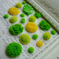 20 Assorted Green Flower Magnets, Assorted Yellow Flower Magnets, Decorative Magnets, Floral, Kitchen Fridge Magnets, Home Office, Magnet Bo