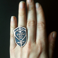 Shield Heart Ring - Illuminated Heart - Etched Copper- handmade from copper in my studio - Jamie Spinello