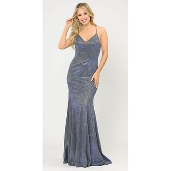 Royal Blue Mermaid Style Long Prom Dress with Spaghetti Straps