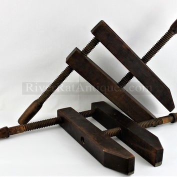 "Antique Pair of Large 16"" Wood Screw Clamps"