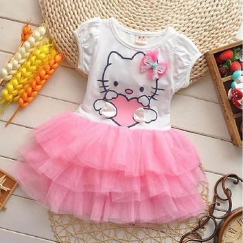 Infant Baby Girls Cute Hello Kitty Cat Short Sleeve Dress With Bow Kids Cotton Dresses Children Summer Clothing Vestidos