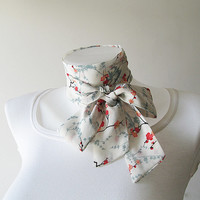 White Skinny Scarf, Sakura Scarf, Long Thin Scarf with Angled Ends, Floral Chiffon Scarf, Neck Tie, Headband, Spring Summer Fashion, For Her