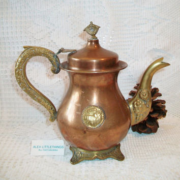 Vintage Brass Copper Gazelle Coffee Tea Pot Ornate Design Tea Party Home Decor