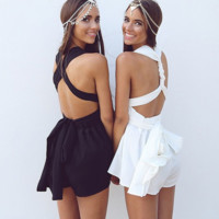 Pure color backless leisure jumpsuits