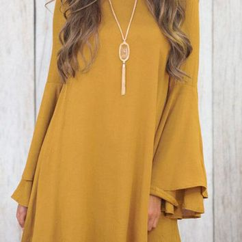 Yellow Lace-up Design Double Layer Bell Sleeves Mini Dress