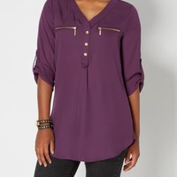 Purple Chiffon Zip Pocket Popover | Blouses | rue21