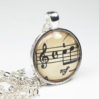 Sheet Music Necklace- Vintage Sheet Music Pendant Jewelry from an 1882 Book