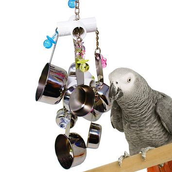 Parrot Bird Stainless Steel Pot Chew Bite Toys Cage Pendant Decor Pet Supplies