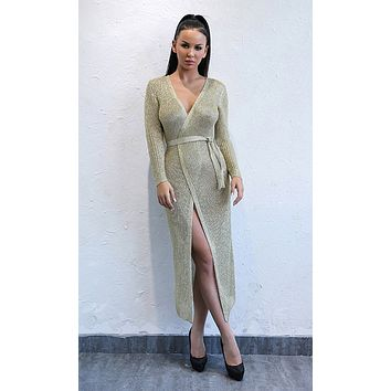 Holding Tight Gold Long Sleeve Sweater Knit Cross V Neck Wrap Casual Midi Dress