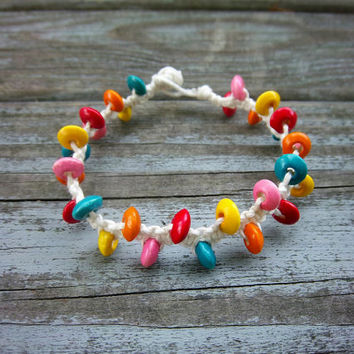 White Square Knot Rainbow Beaded Bamboo Cord Bracelet Christmas in July