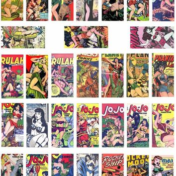 "domino collage sheet pinup girls savage jungle women comics art clipart digital download 1"" x 2"" inch domino vintage images diy printables"