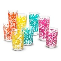 Mudhut Ikat Design Multi-Colored Tumblers Set of 8
